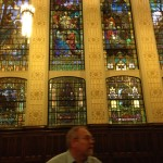Stained glass windows tell the history of the area